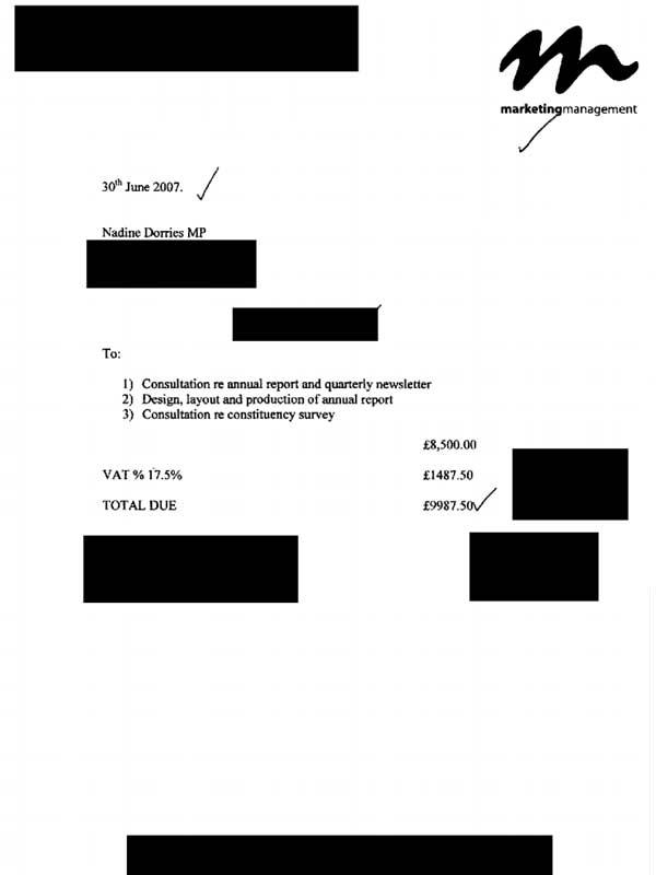 Dorries 2007 annual report invoice