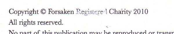 Forsaken are not a registered charity