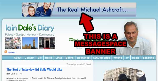 MessageSpace ad for lordashcroft.com on Iain Dale's website