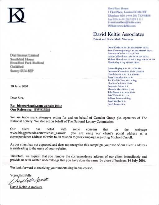Letter from David Keltie Associates
