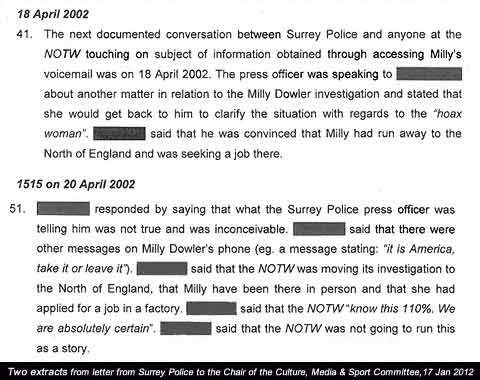 Extracts from police letter published 17 January 2012