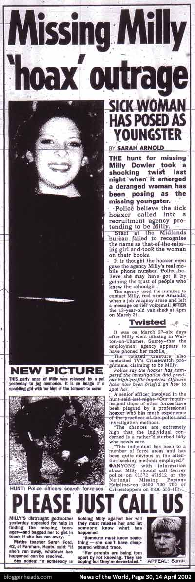 News of the World's Milly Dowler exclusive of April 14 2002