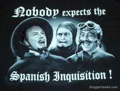 Tony Blair and Jack Straw in the Spanish Inquisition sketch