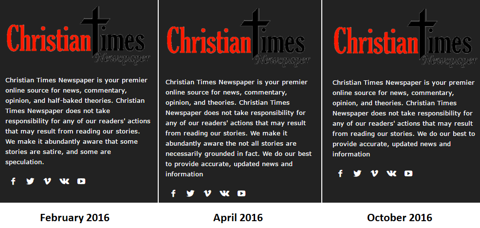 screen captures of so-called Christian Times